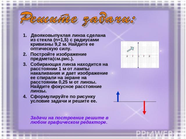 1. Двояковыпуклая линза сделана из стекла (n=1,5) с радиусами кривизны 9,2 м. Найдите ее оптическую силу. Постройте изображение предмета(см.рис.). Собирающая линза находится на расстоянии 1 м от лампы накаливания и дает изображение ее спирали на экр…