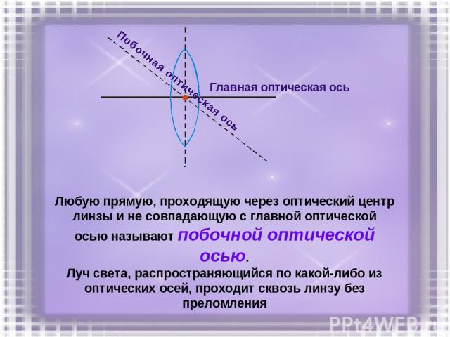 Любую прямую, проходящую через оптический центр линзы и не совпадающую с главной оптической осью называют побочной оптической осью. Луч света, распространяющийся по какой-либо из оптических осей, проходит сквозь линзу без преломления