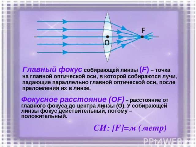 Главный фокус собирающей линзы (F) – точка на главной оптической оси, в которой собираются лучи, падающие параллельно главной оптической оси, после преломления их в линзе. Фокусное расстояние (ОF) – расстояние от главного фокуса до центра линзы (О).…