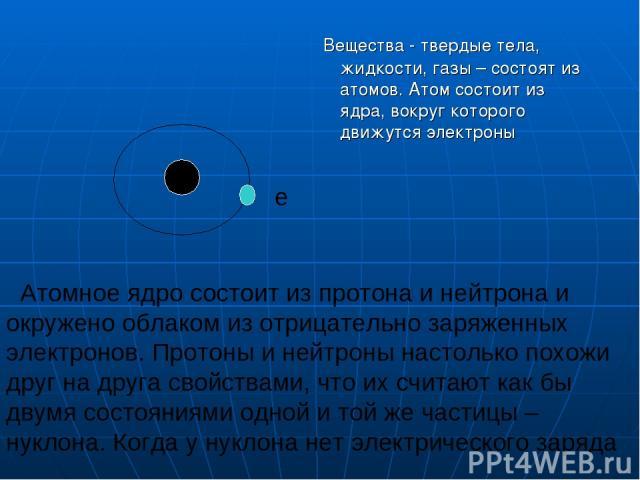 Вещества - твердые тела, жидкости, газы – состоят из атомов. Атом состоит из ядра, вокруг которого движутся электроны Атомное ядро состоит из протона и нейтрона и окружено облаком из отрицательно заряженных электронов. Протоны и нейтроны настолько п…