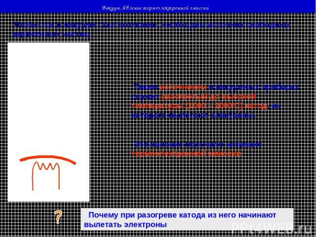 Вакуум. Явление термоэлектронной эмиссии Чтобы ток в вакууме стал возможен, необходим источник свободных заряженных частиц Таким источником в вакуумных приборах служит разогретый до высокой температуры (1000 – 20000С) катод, из которого вылетают эле…