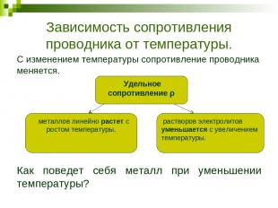 Зависимость сопротивления проводника от температуры. С изменением температуры со
