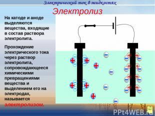 На катоде и аноде выделяются вещества, входящие в состав раствора электролита. П