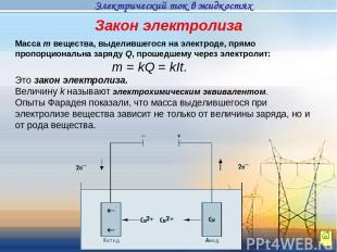 Масса m вещества, выделившегося на электроде, прямо пропорциональна заряду Q, пр