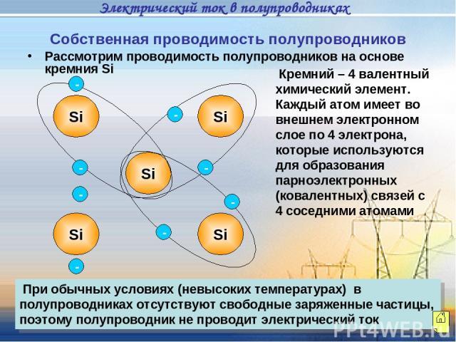 Кремний – 4 валентный химический элемент. Каждый атом имеет во внешнем электронном слое по 4 электрона, которые используются для образования парноэлектронных (ковалентных) связей с 4 соседними атомами При обычных условиях (невысоких температурах) в …