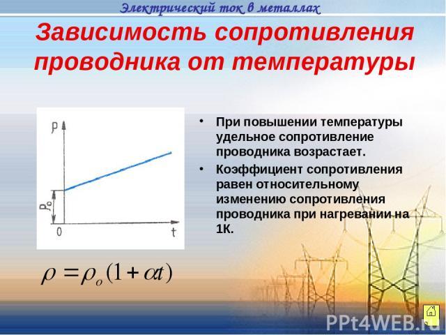 Зависимость сопротивления проводника от температуры При повышении температуры удельное сопротивление проводника возрастает. Коэффициент сопротивления равен относительному изменению сопротивления проводника при нагревании на 1К. Электрический ток в м…