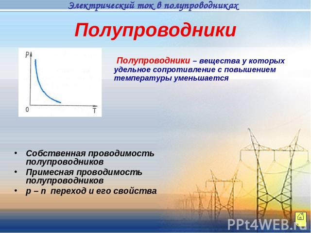 Полупроводники Полупроводники – вещества у которых удельное сопротивление с повышением температуры уменьшается Собственная проводимость полупроводников Примесная проводимость полупроводников p – n переход и его свойства Электрический ток в полупроводниках