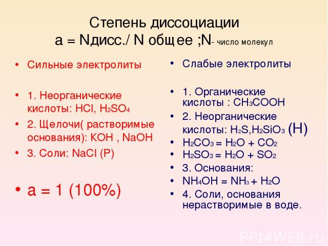 Степень диссоциации a = Nдисс./ N oбщее ;N- число молекул Сильные электролиты 1. Неорганические кислоты: HCl, H2SO4 2. Щелочи( растворимые основания): КОН , NaOH 3. Соли: NaCI (Р) а = 1 (100%) Слабые электролиты 1. Органические кислоты : СН3СООН 2. …