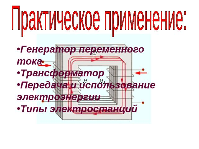 Генератор переменного тока Трансформатор Передача и использование электроэнергии Типы электростанций