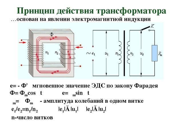 Принцип действия трансформатора …основан на явлении электромагнитной индукции e= - Ф' мгновенное значение ЭДС по закону Фарадея Ф= Фmcosωt e= εmsinωt εm= ωФm - амплитуда колебаний в одном витке е1/е2=n1/n2 |е1|≈|u1| |e2|≈|u2| n-число витков