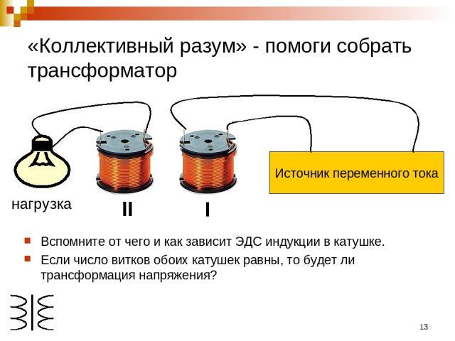 * «Коллективный разум» - помоги собрать трансформатор Вспомните от чего и как зависит ЭДС индукции в катушке. Если число витков обоих катушек равны, то будет ли трансформация напряжения? I II нагрузка
