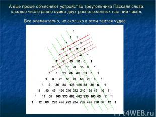 А еще проще объясняют устройство треугольника Паскаля слова: каждое число равно
