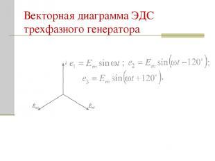 Векторная диаграмма ЭДС трехфазного генератора