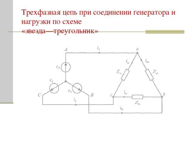 Трехфазная цепь при соединении генератора и нагрузки по схеме «звезда—треугольник»