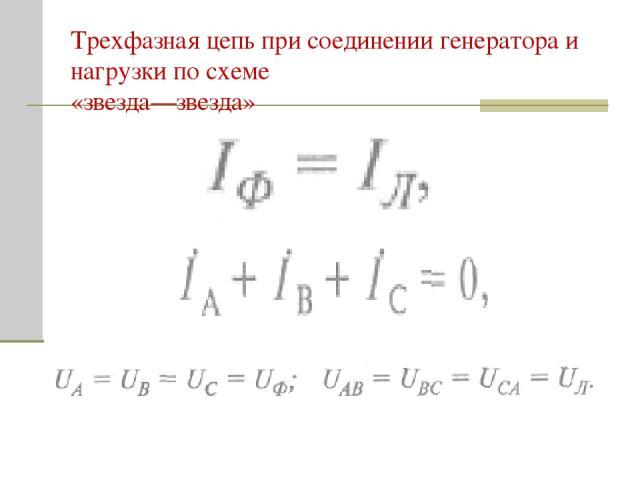 Трехфазная цепь при соединении генератора и нагрузки по схеме «звезда—звезда»