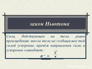 ΙΙ закон Ньютона Сила, действующая на тело, равна произведению массы тела на соз