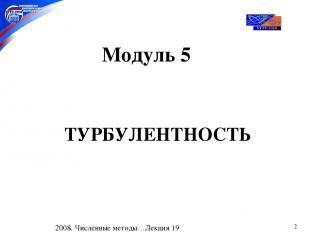 * Модуль 5 ТУРБУЛЕНТНОСТЬ 2008. Численные методы…Лекция 19