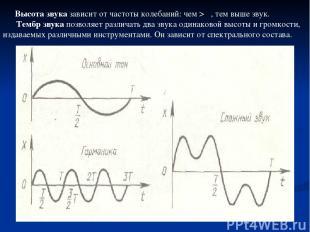 Высота звука зависит от частоты колебаний: чем > ν, тем выше звук. Тембр звука п