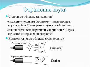 Отражение звука Сплошные объекты (диафрагма) - отражение «единым фронтом» - выше