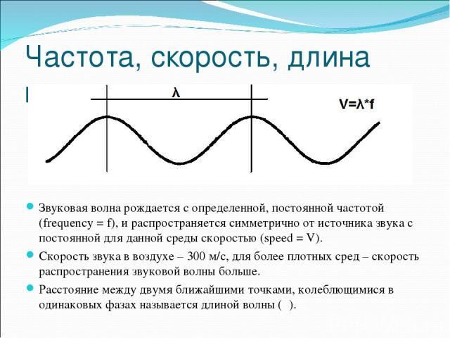 Частота, скорость, длина волны. Звуковая волна рождается с определенной, постоянной частотой (frequency = f), и распространяется симметрично от источника звука с постоянной для данной среды скоростью (speed = V). Скорость звука в воздухе – 300 м/с, …