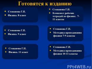Готовятся к изданию Степанова Г.Н. Физика. 8 класс Степанова Г.Н. Методика препо