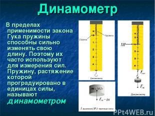 Динамометр В пределах применимости закона Гука пружины способны сильно изменять
