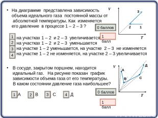 На диаграмме представлена зависимость объема идеального газа постоянной массы от