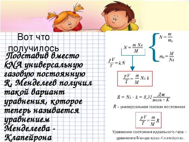 Вот что получилось Подставив вместо kNA универсальную газовую постоянную R, Менделеев получил такой вариант уравнения, которое теперь называется уравнением Менделеева - Клапейрона