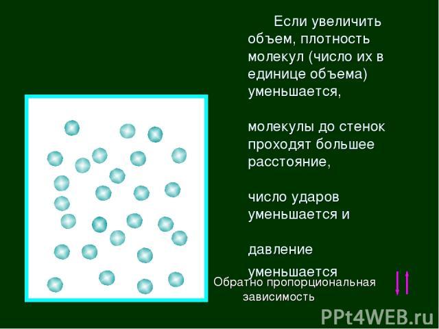 Если увеличить объем, плотность молекул (число их в единице объема) уменьшается, молекулы до стенок проходят большее расстояние, число ударов уменьшается и давление уменьшается Обратно пропорциональная зависимость