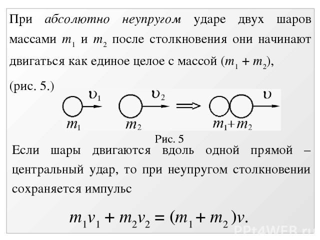 Рис. 5 При абсолютно неупругом ударе двух шаров массами m1 и m2 после столкновения они начинают двигаться как единое целое с массой (m1 + m2), (рис. 5.) Если шары двигаются вдоль одной прямой – центральный удар, то при неупругом столкновении сохраня…