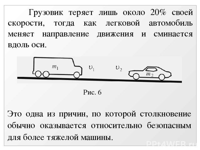 Рис. 6 Грузовик теряет лишь около 20% своей скорости, тогда как легковой автомобиль меняет направление движения и сминается вдоль оси. Это одна из причин, по которой столкновение обычно оказывается относительно безопасным для более тяжелой машины.