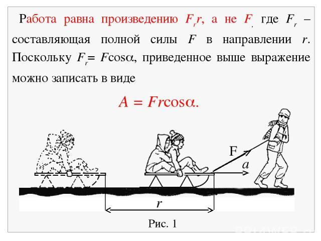 Рис. 1 F a r Работа равна произведению Frr, а не F, где Fr – составляющая полной силы F в направлении r. Поскольку Fr= Fcos , приведенное выше выражение можно записать в виде A = Frcos .