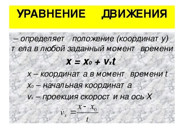 УРАВНЕНИЕ ДВИЖЕНИЯ – определяет положение (координату) тела в любой заданный момент времени х = х0 + vхt х – координата в момент времени t х0 – начальная координата vх – проекция скорости на ось Х