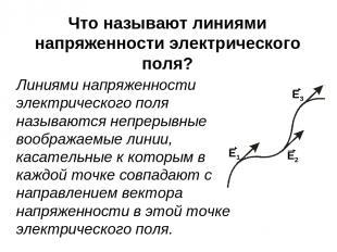Что называют линиями напряженности электрического поля? Линиями напряженности эл