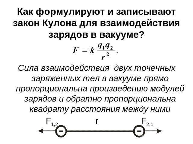 Как формулируют и записывают закон Кулона для взаимодействия зарядов в вакууме? Сила взаимодействия двух точечных заряженных тел в вакууме прямо пропорциональна произведению модулей зарядов и обратно пропорциональна квадрату расстояния между ними F1…