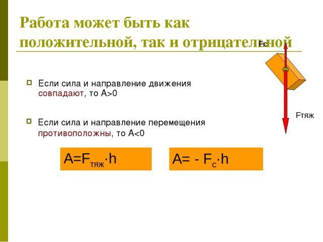 Работа может быть как положительной, так и отрицательной Если сила и направление движения совпадают, то А>0 Если сила и направление перемещения противоположны, то А