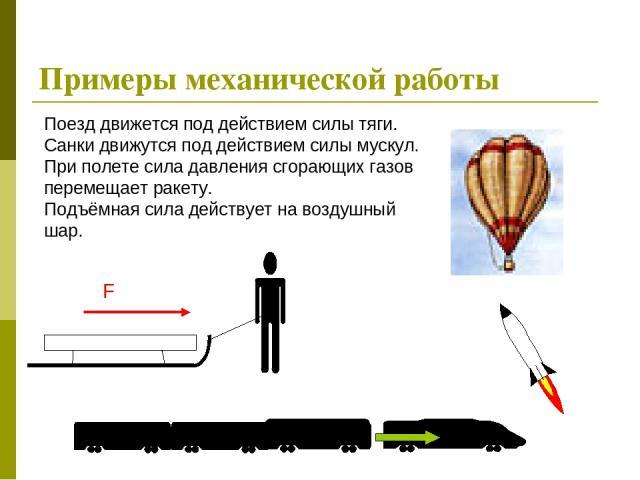 Примеры механической работы Поезд движется под действием силы тяги. Санки движутся под действием силы мускул. При полете сила давления сгорающих газов перемещает ракету. Подъёмная сила действует на воздушный шар.