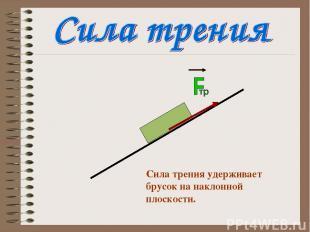 Сила трения удерживает брусок на наклонной плоскости.
