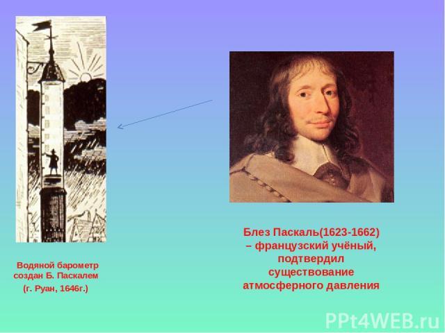 Водяной барометр создан Б. Паскалем (г. Руан, 1646г.) Блез Паскаль(1623-1662) – французский учёный, подтвердил существование атмосферного давления
