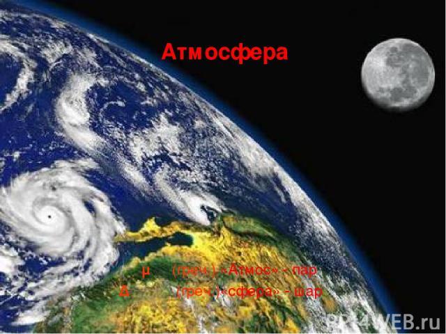 Ατμος (греч.) «Атмос» - пар Δφαίρα (греч.)«сфера» - шар Атмосфера