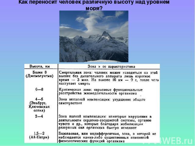 Как переносит человек различную высоту над уровнем моря?