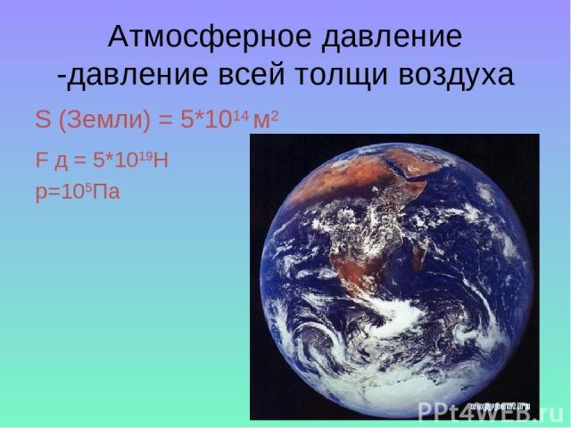 Атмосферное давление -давление всей толщи воздуха S (Земли) = 5*1014 м2 F д = 5*1019H p=105Па