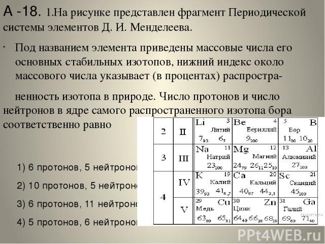 А -18. 1.На рисунке представлен фрагмент Периодической системы элементов Д.И.Менделеева. Под названием элемента приведены массовые числа его основных стабильных изотопов, нижний индекс около массового числа указывает (в процентах) распростра- ненн…
