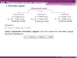 1. Лептонные заряды §4. Элементарные частицы Закон сохранения лептонных зарядов: