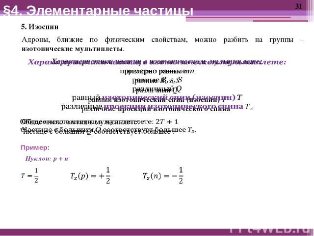 5. Изоспин Адроны, близкие по физическим свойствам, можно разбить на группы – изотопические мультиплеты. §4. Элементарные частицы Пример: Нуклон: p + n