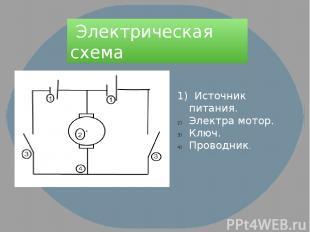 Электрическая схема 1) Источник питания. Электра мотор. Ключ. Проводник.