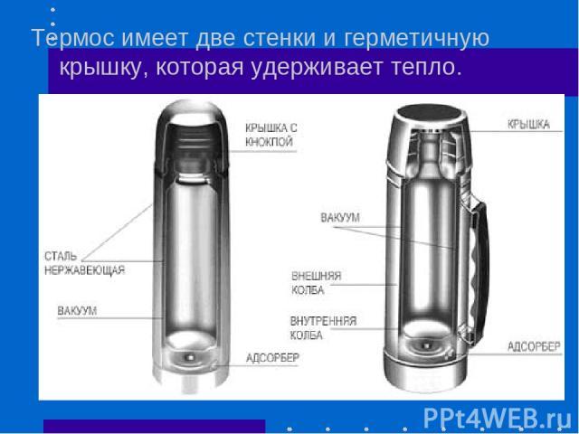 Термос имеет две стенки и герметичную крышку, которая удерживает тепло.