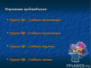 Результаты представления: Группа №1: Создание презентации Группа №2: Создание пр