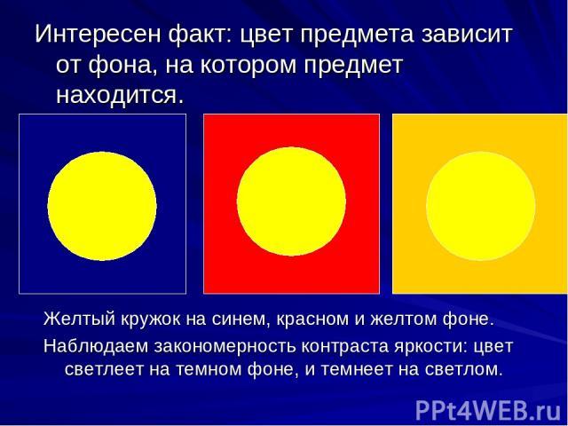 Интересен факт: цвет предмета зависит от фона, на котором предмет находится. Желтый кружок на синем, красном и желтом фоне. Наблюдаем закономерность контраста яркости: цвет светлеет на темном фоне, и темнеет на светлом.