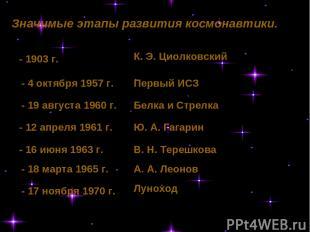 К. Э. Циолковский Первый ИСЗ Белка и Стрелка Ю. А. Гагарин В. Н. Терешкова А. А.